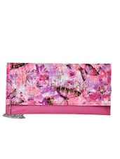 Pink  Butterfly Printed Clutch - Lass Lee