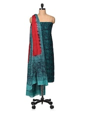 Teal Blue And Black Printed Cotton Unstitched Suit Set - VarEesha