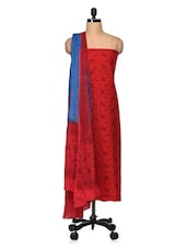 Maroon And Royal Blue Printed Cotton Unstitched Suit Set - VarEesha