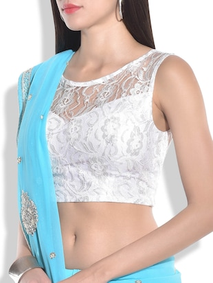 white floral net stitched blouse