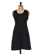 Black  Front Pleated Sleeveless Dress - Anshi