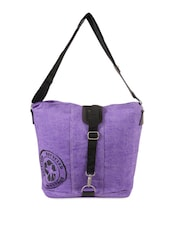 Purple Jute Cotton  Messenger Bag - THE JUTE SHOP