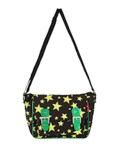 Black Cotton Sling Bag With Yellow Stars - THE JUTE SHOP