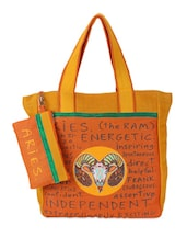 Orange & Yellow Aries Quoted Jute Bag - THE JUTE SHOP