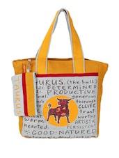 Yellow & Grey Taurus Quoted Jute Tote Bag - THE JUTE SHOP