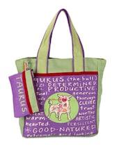 Purple & Green Taurus Quoted Jute Tote Bag - THE JUTE SHOP