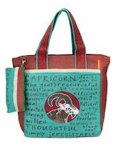 Brown & Green Capricorn Jute Tote Bag - THE JUTE SHOP