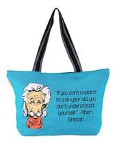 Blue Quoted Jute Bag - THE JUTE SHOP
