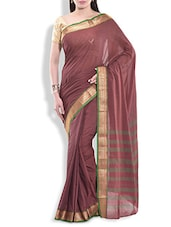 Dark Mauve Cotton Silk Checkered Saree With Brocade Border - By