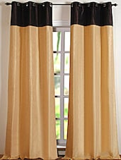 Beige & Brown Colour Block Polyester Door Curtain - Deco Essential