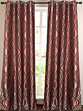 Red And Golden Printed Polyester Door Curtain - Deco Essential