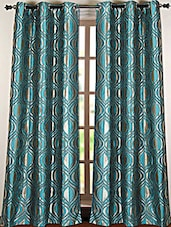 Turquoise Printed Polyester Door Curtain - Deco Essential
