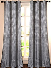 Grey Self Printed Polyester Door Curtain - Deco Essential