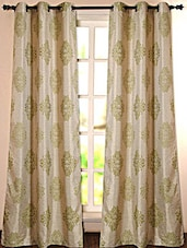 Beige & Green Printed Polyester Door Curtain - Deco Essential