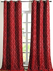 Red Printed Polyester Door Curtain - Deco Essential