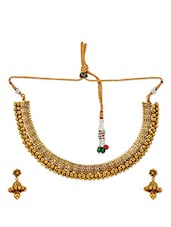 Pretty Gold Micron Gold Plated Choker Set With Earrings - Maayra