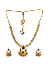 Exclusive Black Micron Gold Plated Necklace Set With Earrings - Maayra