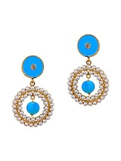 Pretty Blue White Pearl Drop Earrings - Maayra