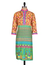 Multicoloured Printed Cotton Kurta - Jaipurkurti.com