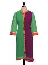 Green & Purple Colour Block Georgette Kurta - NAVRITI