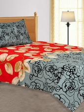 Floral & Leaf Printed Cotton Single Bed Sheet - Salona Bichona