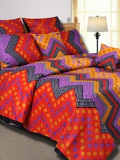Chevron & Polka Dot Printed Cotton Double Bed Sheet - Salona Bichona