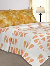 Multi Colored Leaf Printed Cotton Double Bedsheets - Salona Bichona