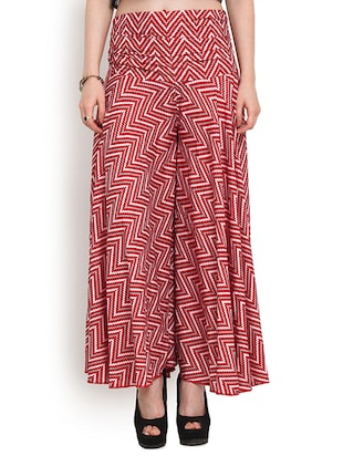 red polyester palazzos