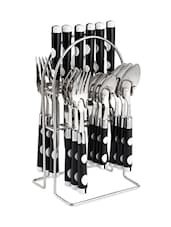 Black Polka Dot Cutlery Set With Stand - Dinette