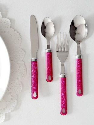 Pink Spots Cutlery Set With Stand