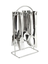 Engraved Stripes Stainless Steel Cutlery Set With Stand - Dinette