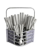 Pipe Handle Stainless Steel Cutlery Set With Marble Finish Stand - Dinette