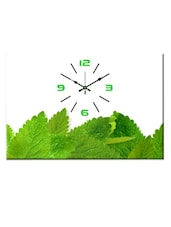 White And Green Leaf-patterned Wall Clock - Design O Vista