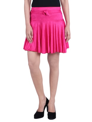 Pink Cotton Solid Mini Skirt