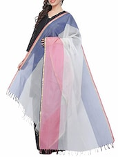 White Blue And Pink Cotton Silk Dupatta - By