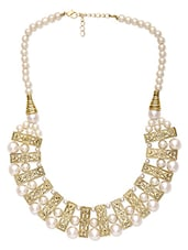 Gold, White Metal Alloy, Plastic, Pearl Beads Short  Necklace - By