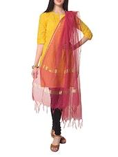 Yellow Quarter Sleeves Cotton Kurta With Pink Cotton Dupatta - STRI