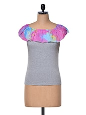 Grey Boat Neck Top With Printed Frill - Meee!