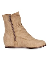 Ankle Length Beige Boots With Bow And Zipper - Elly