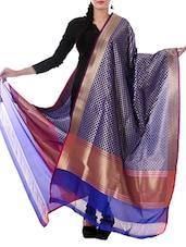Blue Silk Zari Work Dupatta - By