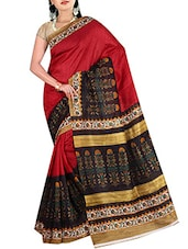 Red, Black Colored Printed Bhagalpuri Silk Saree - By