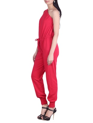 Solid red one-shoulder jumpsuit - 9973719 - Standard Image - 2