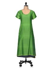 Green Chanderi Silk With Cotton Lining Long Kurta - The Shop