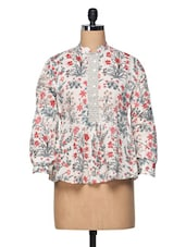 Multicolored Floral Long Sleeves Cotton Top - The Shop