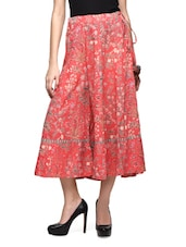 Red Multicolored Floral Cotton Sharara Pant - The Shop