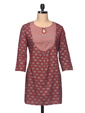 Maroon Floral Printed Cotton Kurti - The Shop