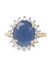 Blue Stone & American Diamond Studded Ring - Savi