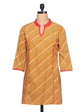 Multi Colour Stripes With Three Quarter Sleeve Kurti - Ayaany