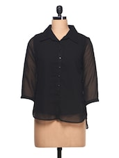 Plain Black With Three Quarter Sleeve Shirt - Ayaany