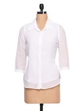 Plain White  With Three Quarter Sleeve Shirt - Ayaany